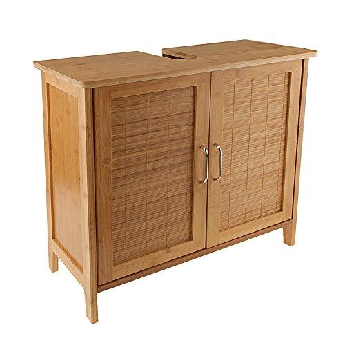Bambus Waschtischunterschrank Holz stehend Massiv braun  Waschbeckenunterschrank Limal 60x56x30cm (BxHxT)