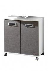 Design waschbeckenunterschrank auf Rollen grau Esche