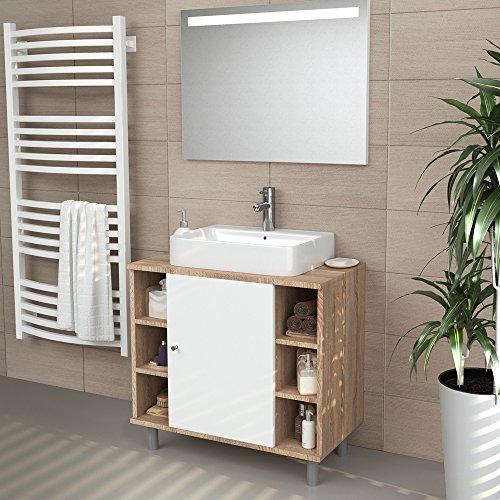 waschbeckenunterschrank holz braun wei freistehend. Black Bedroom Furniture Sets. Home Design Ideas