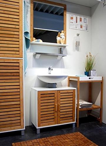 Waschbeckenunterschrank stehend mit t ren aus bambus massivholz korpus aus wei lackiertem - Waschbeckenunterschrank stehend ...