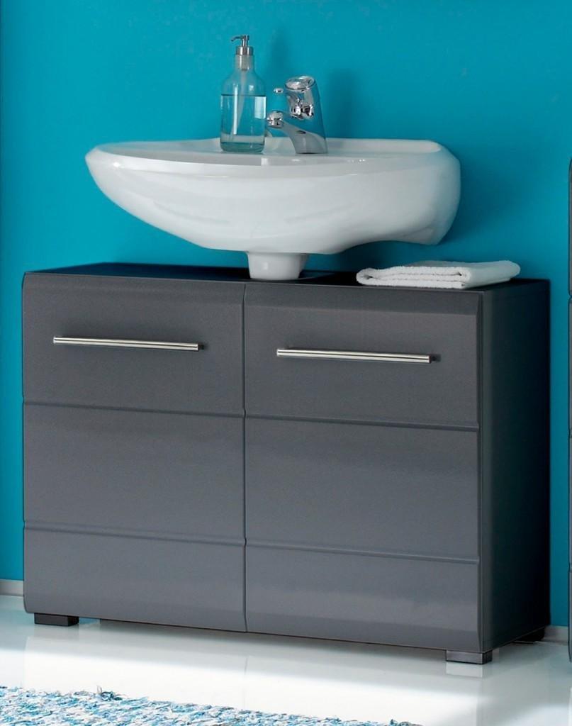 ᐅᐅ Waschbeckenunterschrank schwarz stehend mit Chrome Griffen 12-trg.  grau-metallic  Waschbeckenunterschrank.online